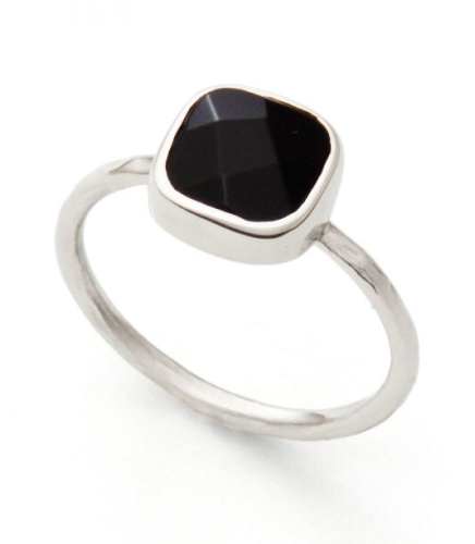 Silberring, Onyx Facettiert